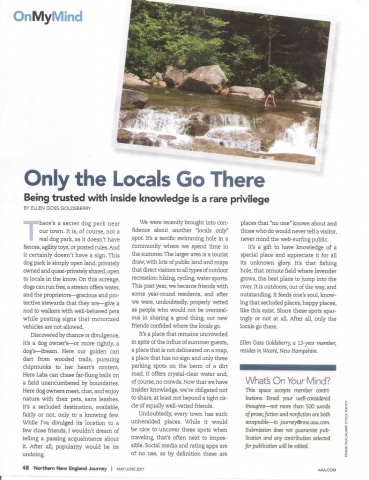 Only the Locals Go There, reprint of article in AAA Magazine
